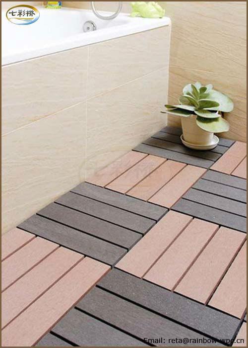 Unti slip outdoor wpc diy flooring tile wood plastic for Pisos para balcones exteriores