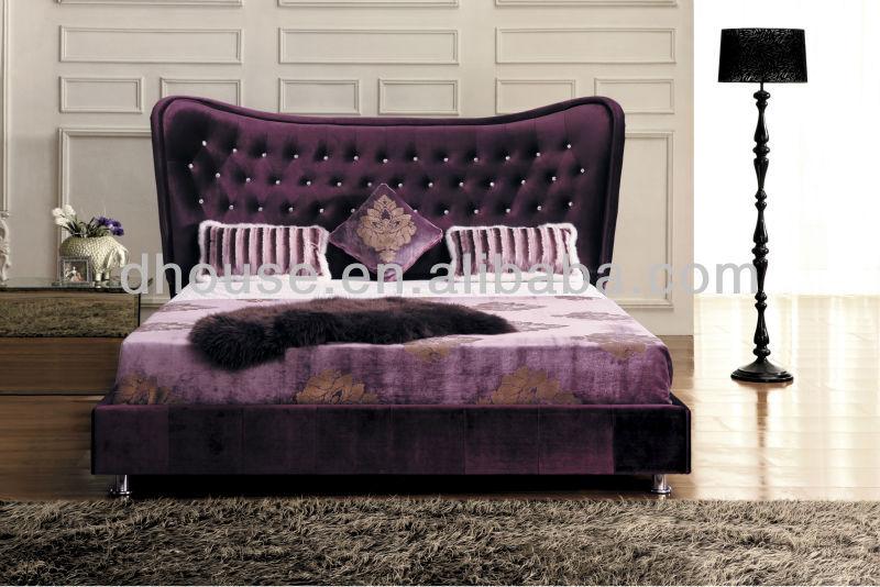 Paarse Decoratie Slaapkamer : Italiaanse luxe neoklassieke slaapkamer meubels paars stof bed met
