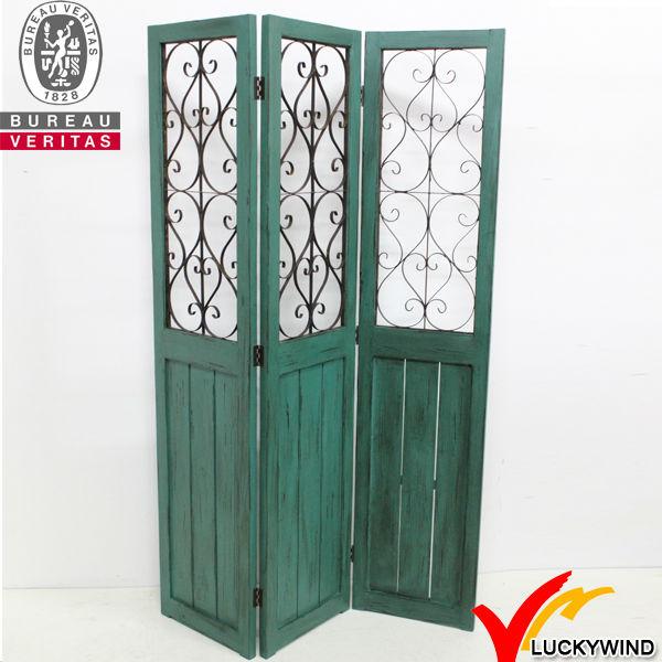 Swirled Iron Vintage Green Wood Folding Decorative Room Dividers Doors - Swirled Iron Vintage Green Wood Folding Decorative Room Dividers