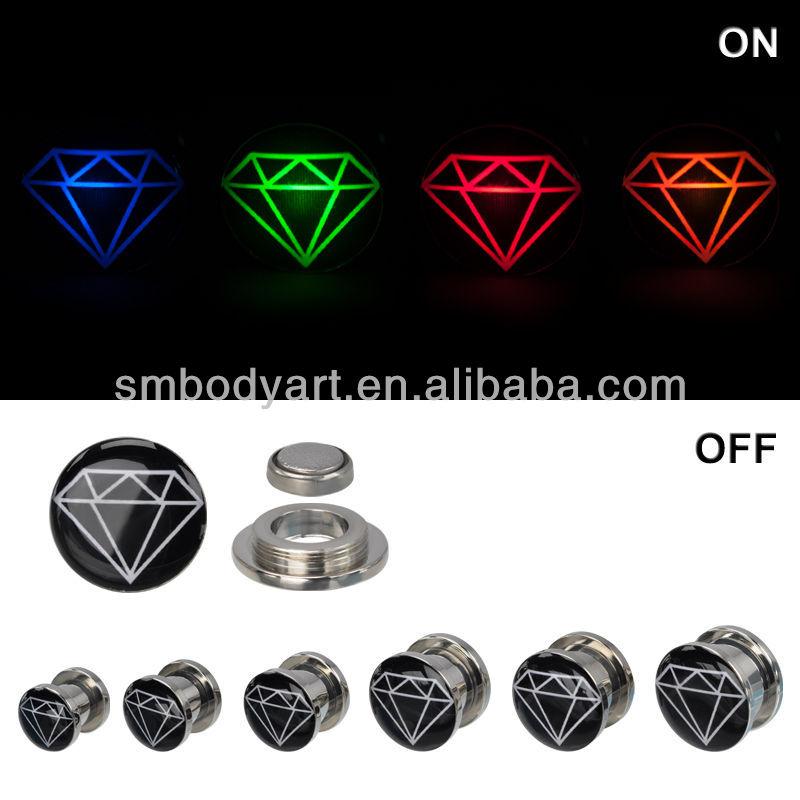Led Ear Plug Screw Fit Diamond Logo Light Up Ear Tunnel Plugs ...
