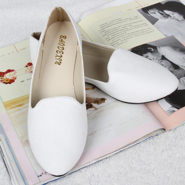 משלוח חינם + מעצב חדש לנשימה סופר רך בנות גרסה סוכריות בצבע עגול רדוד הפה נוח שטוח נעלי נשים