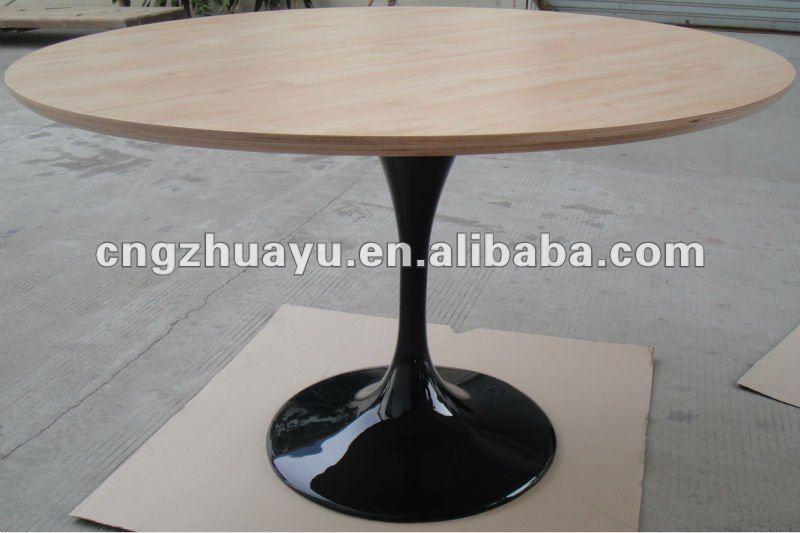 Wood Top Fiberglass Base Saarinen Tulip Table