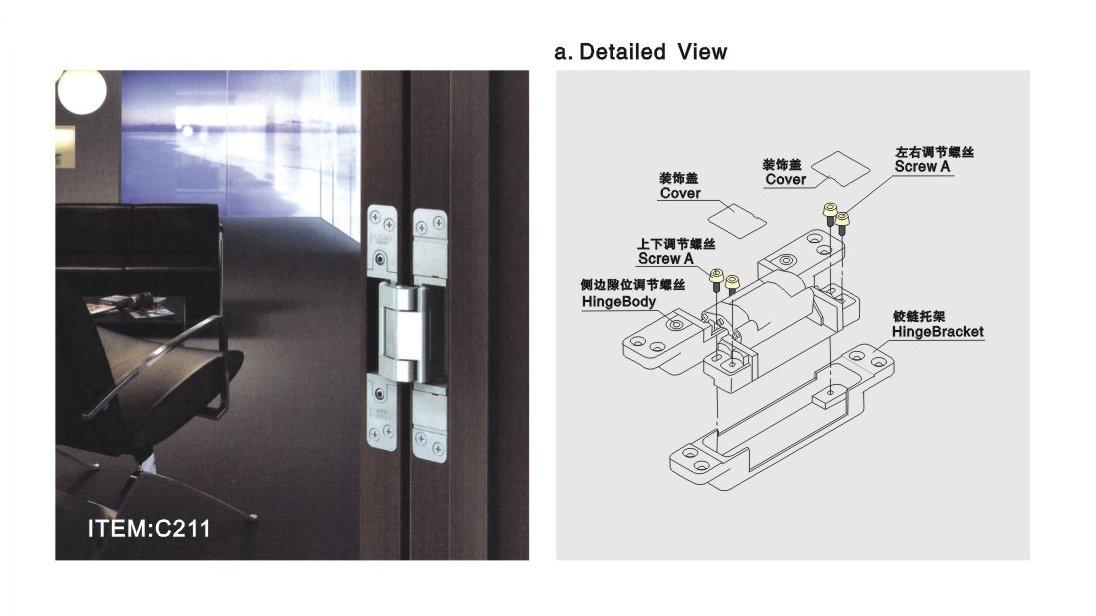 Door Hinge Three Way Adjustable Concealed Hinges For