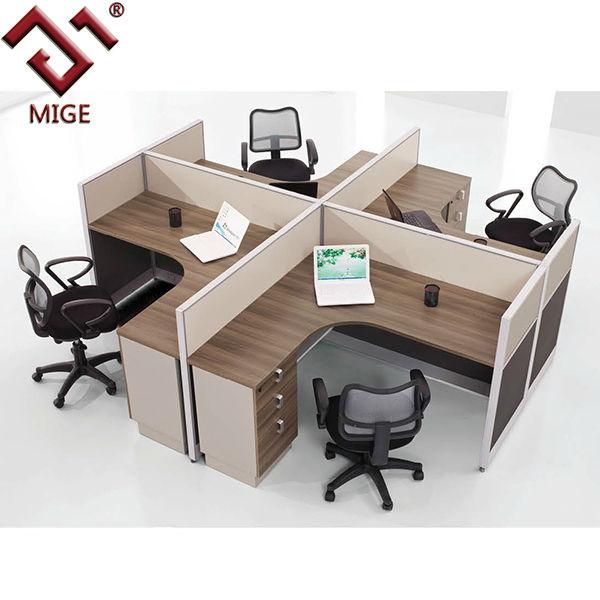 Teak Color L Shape Office Cubicles For