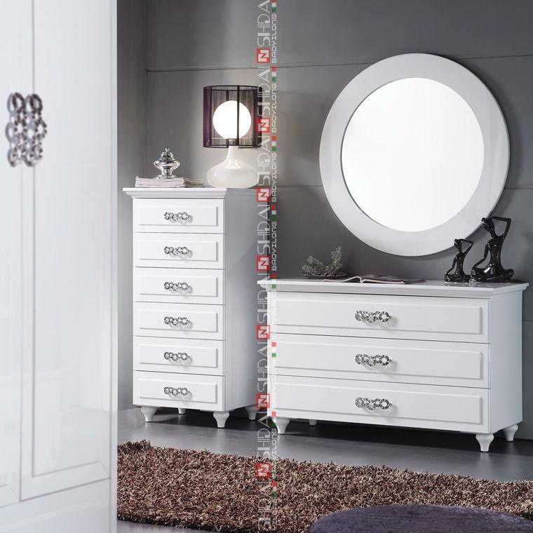 B85 Modern Bedroom Set / White Lacquer Bedroom Furniture / Modern ...