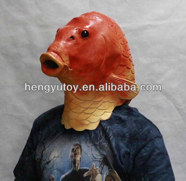 Hui zhou funny halloween latex mask cute masquerade masks for Fish head mask