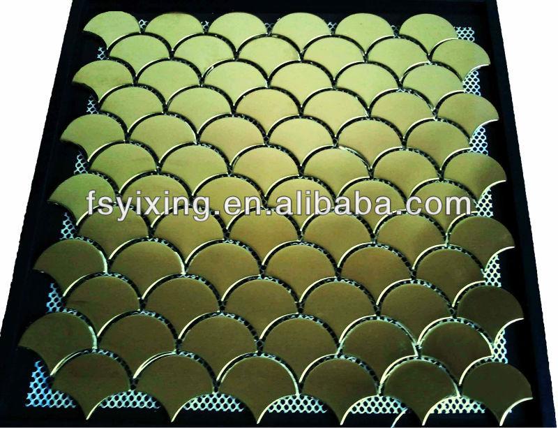 Mi02 Fish Scales Gold Stainless Steel Metal Mosaic Tile