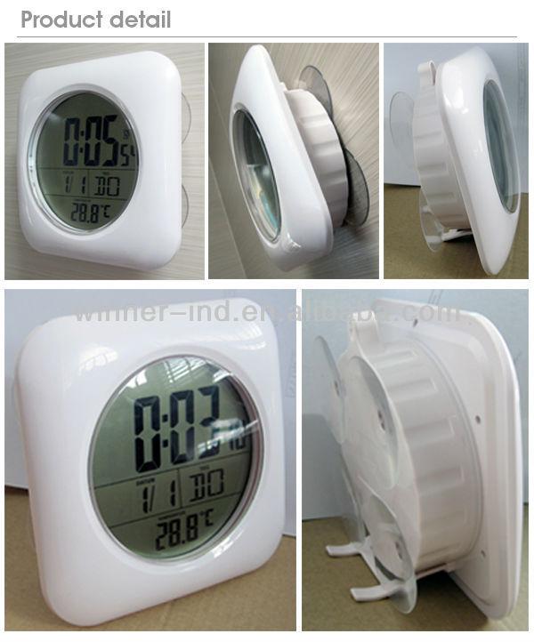 Lcd Digital Bathroom Clock With Radio Controlled Waterproof