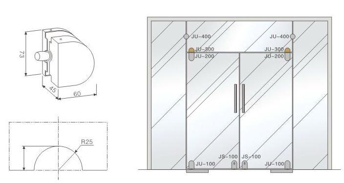 Glass Door Detail : Ss cover glass fitting for mm frameless door