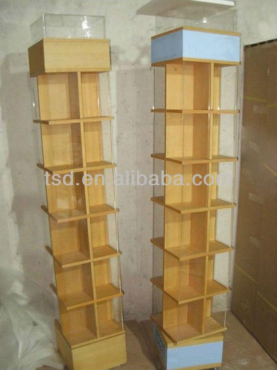 TSD-W515 Custom floor standing rotating wooden book display rack,book store  furniture,
