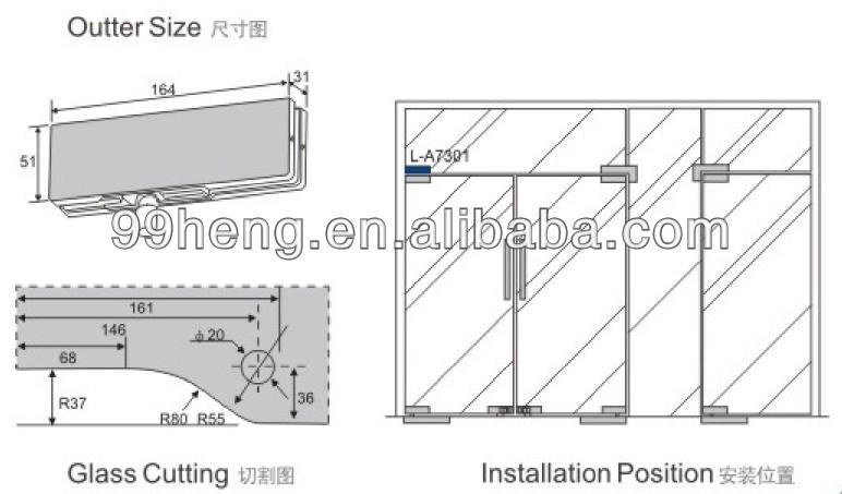 Glass Door Pivot Patch Fitting