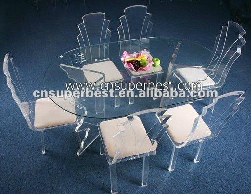 Superbe Table à Manger En Acrylique Avec Chaise En Plexiglas