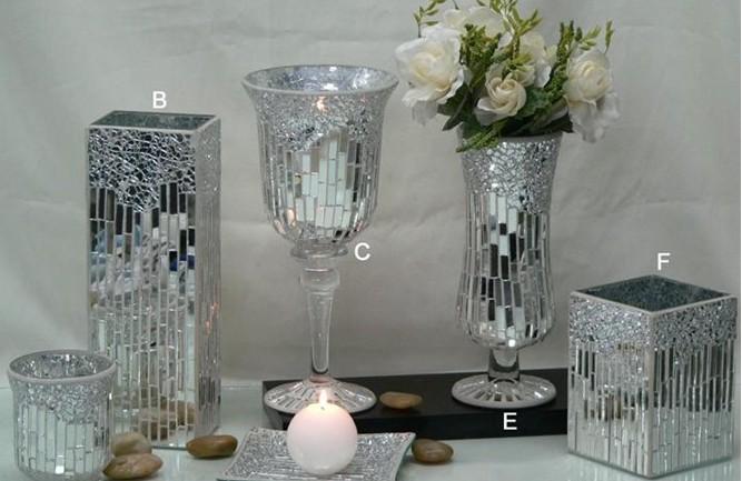 Argent Miroir En Mosaïque De Verre Vase,Support De Bougie Pour