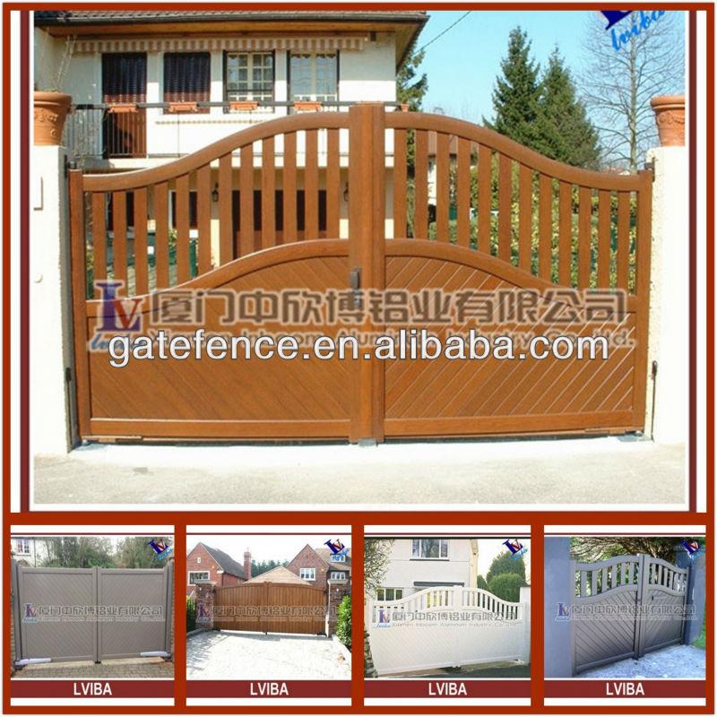 Wood Grain Gate And Wood Color Aluminium Main Gate