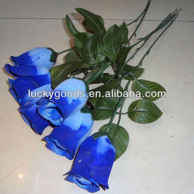 Cheap artificial blue rose flower single stem rose flower for Blue long stem roses