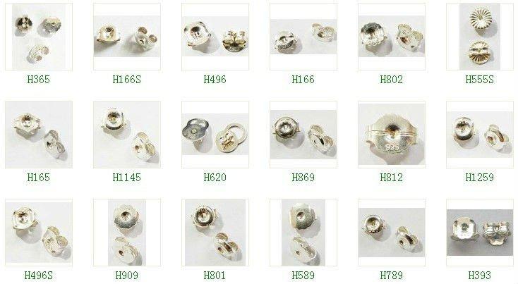 H1145 Sterling Silver Earring Backs Erflies Nuts