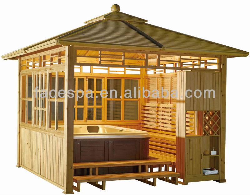 Hot tub gazebo x spa garden wood gazebo fs for Wooden gazebo for hot tub