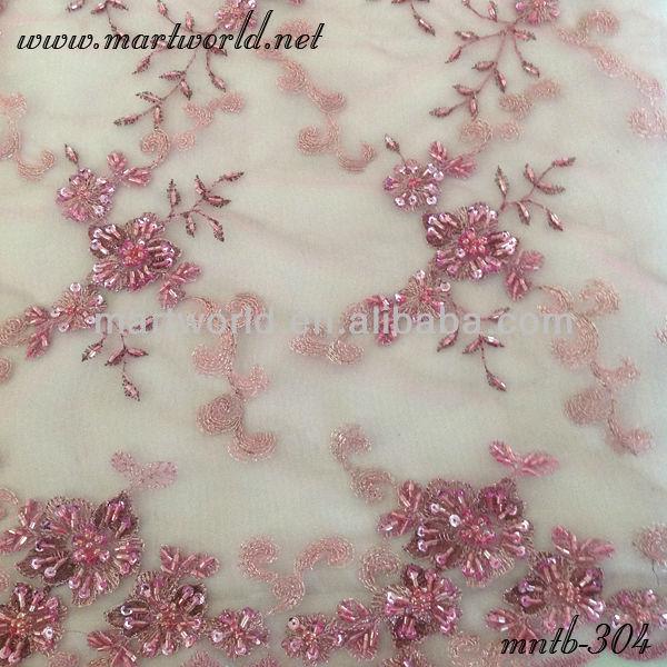 Verwonderlijk Graceful Roze Bloem Borduren Kralen Kant Stof Voor Robe De Soiree YF-52