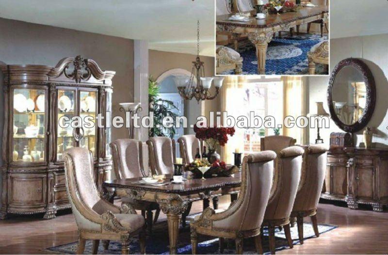 Marvelous High Quality Luxury Antique Solid Wood Hand Carved Dining Room Set/vintage  Wooden Big Size
