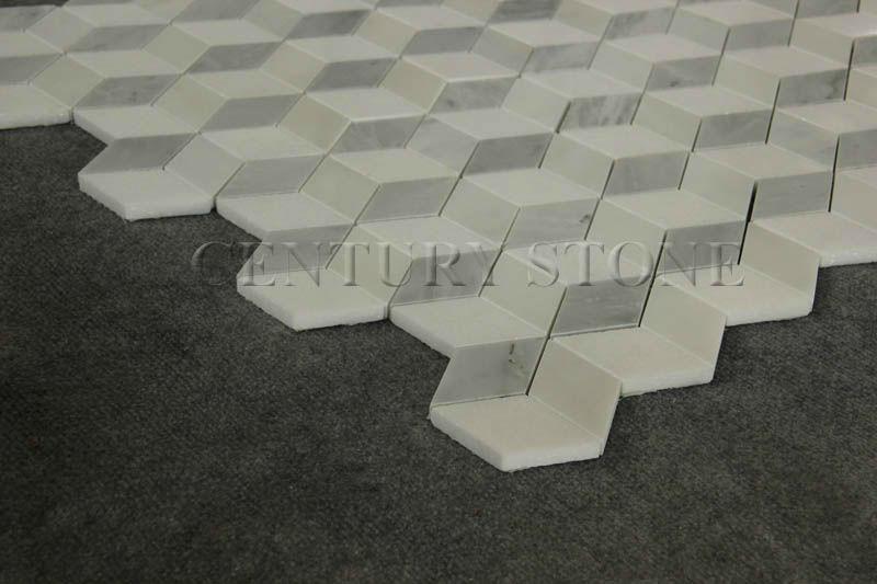 3d Mosaic Design Irregular Diamond Shaped White Marble