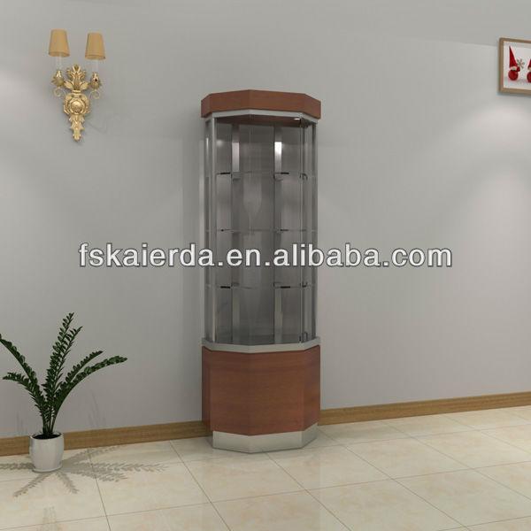 Wood Glass Living Room Showcase Design