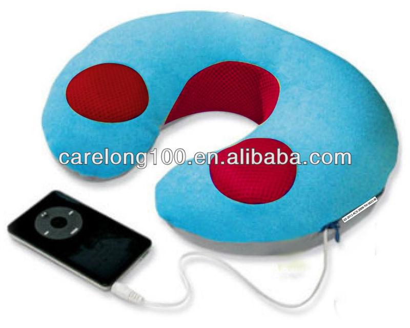 Neck u shape Music MP3 travel sleep nap microbeads Pillow Speaker