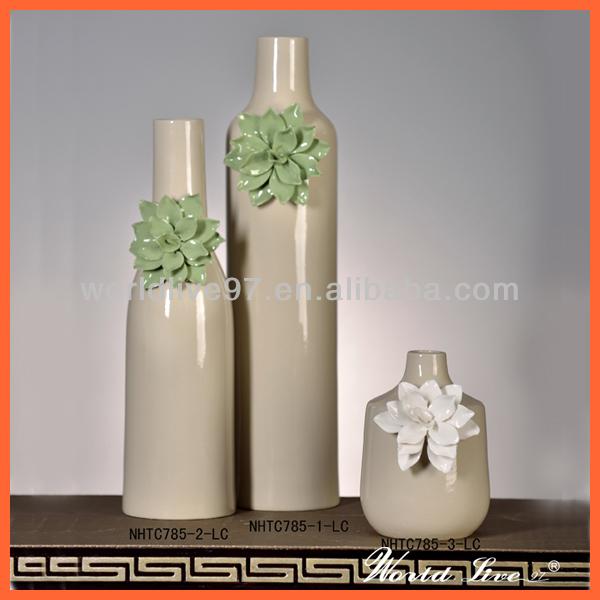 Nhtc813 1 2 W Cream White Hand Made Flower Ceramic Vases China