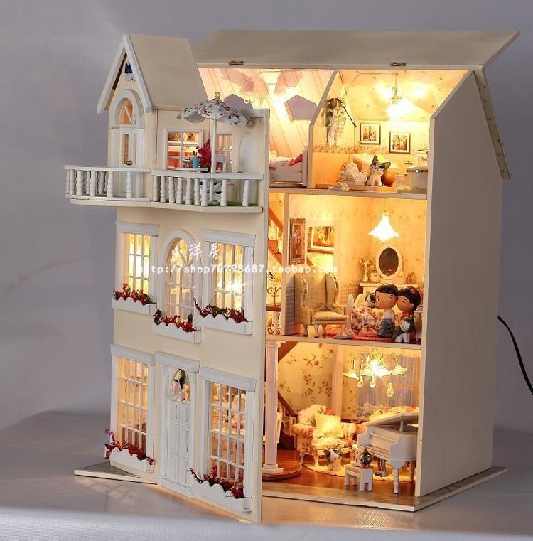 DIY Large W/light Wooden Dollhouse Three-storeyed Big