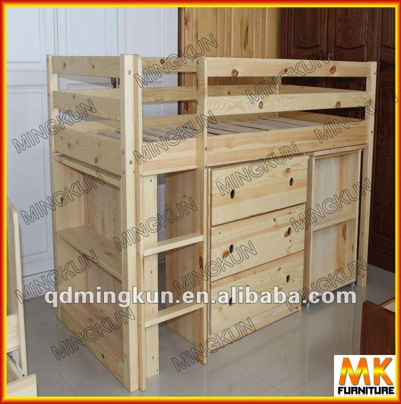 Madera medio alto cama ni os cama con debajo del gabinete for Camas chinas baratas