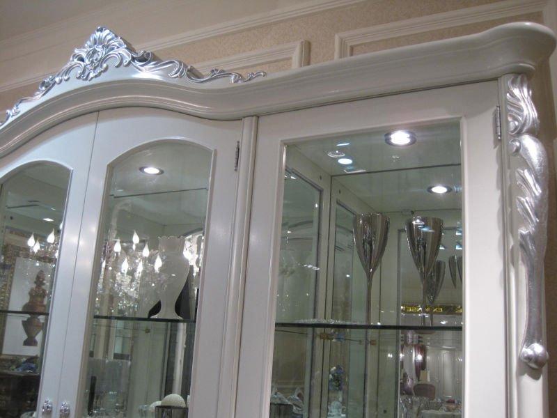 0036 European Classic White Silver Living Room Glass Showcase