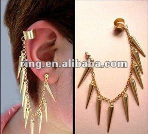 Bijoux D Oreille Cartilage mode chaîne en or rivet gland cartilage bijou d'oreille chaîne clip