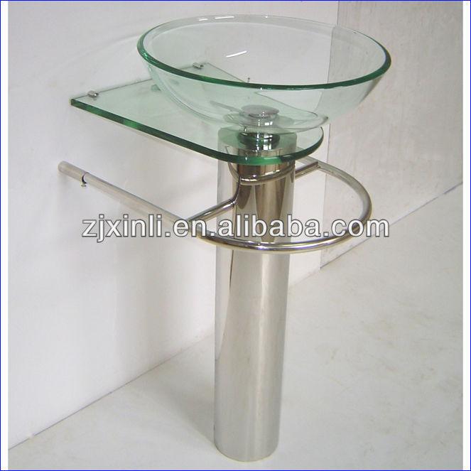 Alta calidad vidrio templado ba o lavabo de pedestal for Lavabo vidrio