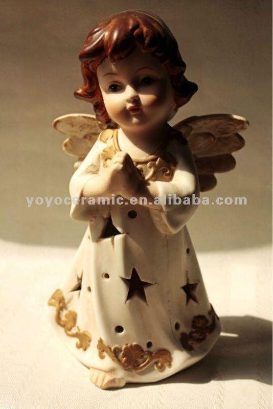 Cer mica blanca ngeles y hadas figuras para la decoraci n - Angelitos de yeso ...