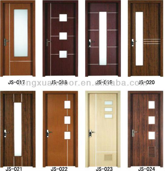 Wpc pvc toilet bedroom bathroom door with glass design for Bathroom glass door design