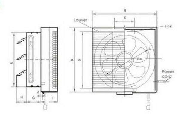 Square Wall Tape Ventilator Fan/shutter Exhaust Fan ...