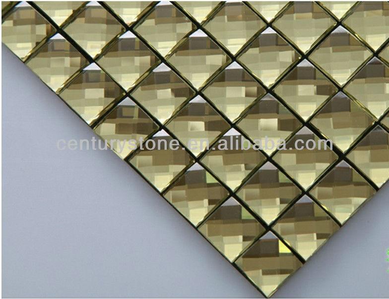 Marrone te` sfaccettatura oro vetro smussato specchio