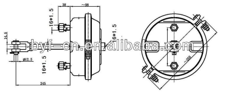 byf deep stroke double black electrophoresis air brake chamber