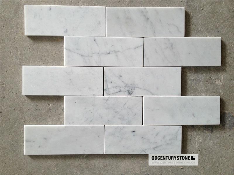 Carrara Marble Subway Tile Shower