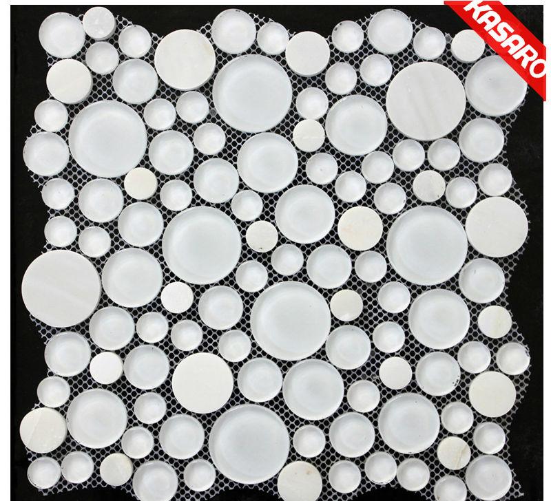 Milky White Bubble Tile Glass Tile Round Mosaic Glass