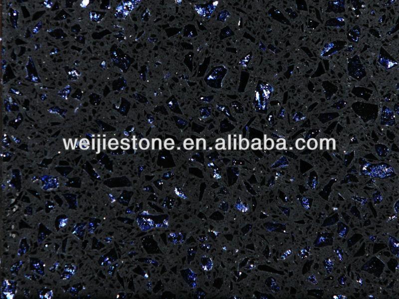 Sparkle blu artificiale lastra del quarzo piastrelle