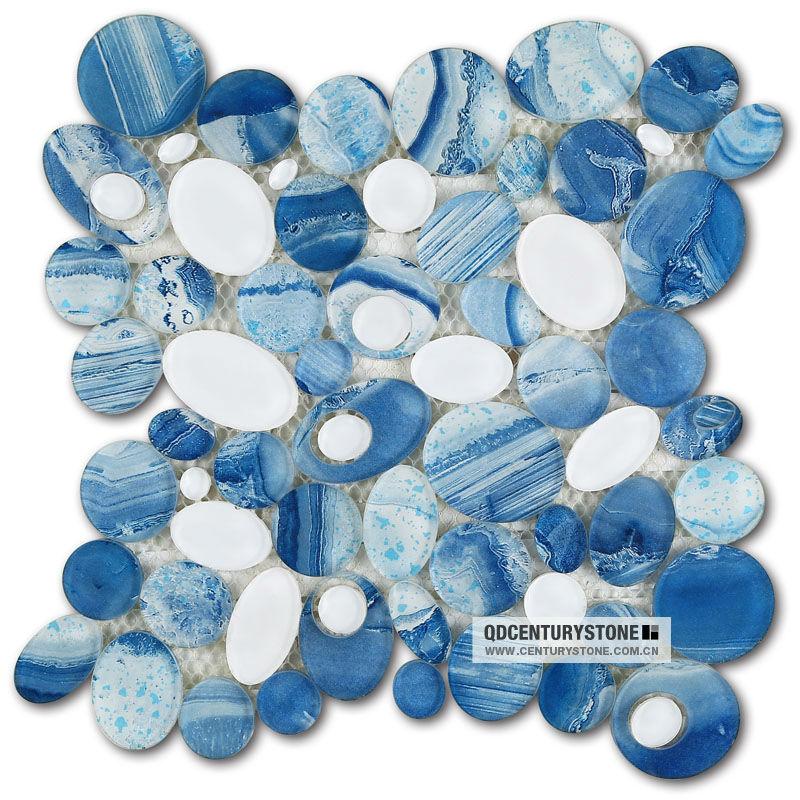 Blue River Bathroom Decorative Glass Pebble Mosaic Tile