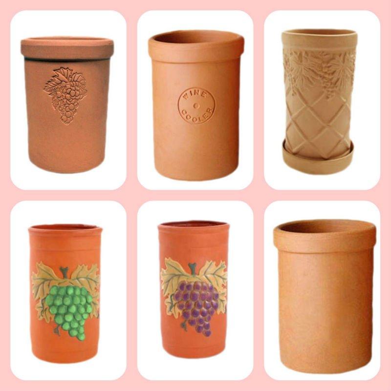 Grape Decorative Wine Bottle Cooler Ceramic Terracotta