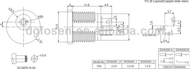 dc power jack 3 pin pcb dc mini jack connector dc00220