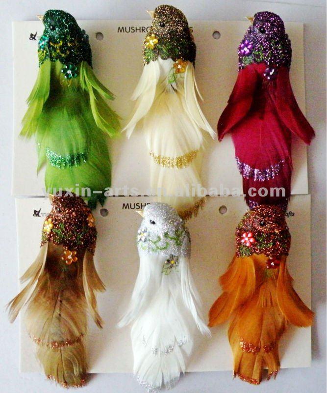 decoracion navidad de plumas de aves