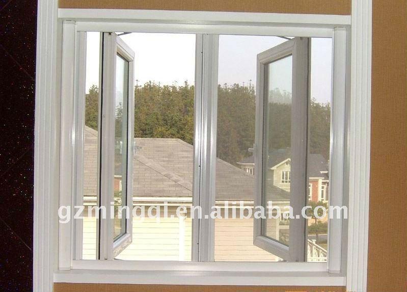 sliding aluminum window frame in wood color