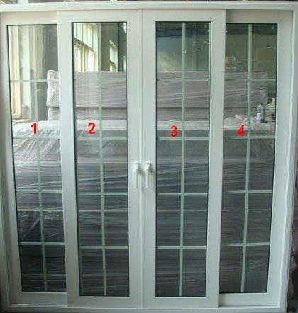 Smart White UPVC Sliding Door With Grills