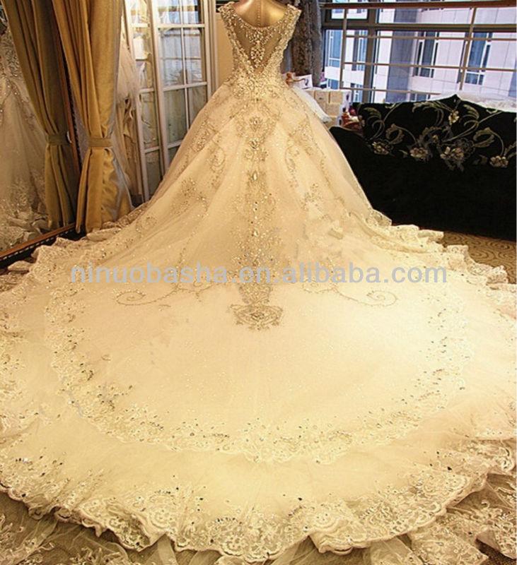 Luxury High Grade Shining Crystal Diamond Royal Princess Ball Gown 2017 Custom Made