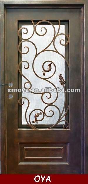 Casa francesa ventana parrilla de hierro forjado puerta de for Puertas principales de hierro para casas