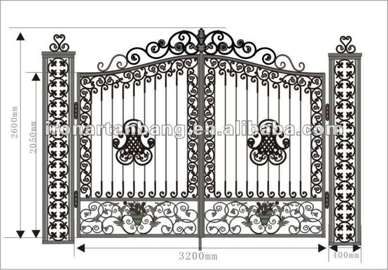Terlaris ditempa besi gerbang dan pagar villa g 0042 buy product on - Beautiful house gates designs ...