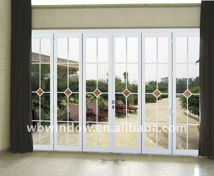 Art stico pvc puerta plegable con dise o de la parrilla - Puerta pvc plegable ...